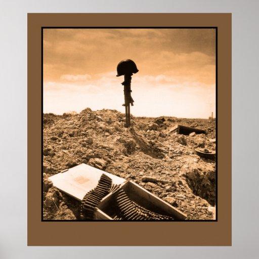 Foto dramática: soldado americano caido póster