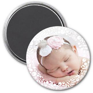Foto enmarcada baya blanca del bebé imán redondo 7 cm