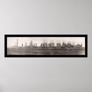 Foto enorme 1909 del RR del hierro del carbón del Posters