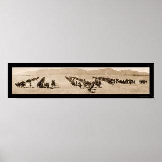 Foto enorme 1916 de El Paso TX de la artillería Póster
