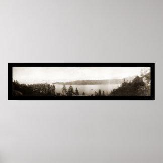 Foto esmeralda 1906 del lago Tahoe de la bahía Póster