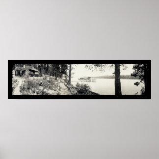 Foto esmeralda 1910 de la bahía de Tahoe del vapor Póster