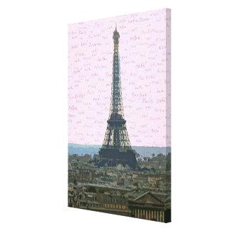 Foto estilizada de la torre Eiffel en la oscuridad Lienzo Envuelto Para Galerías