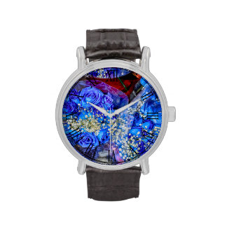 Foto floral de la flor color de rosa azul hermosa relojes de pulsera