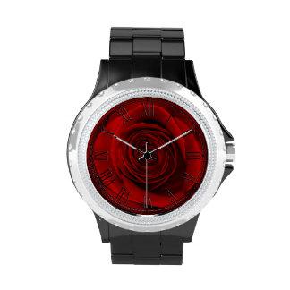 Foto floral de la flor hermosa del rosa rojo reloj