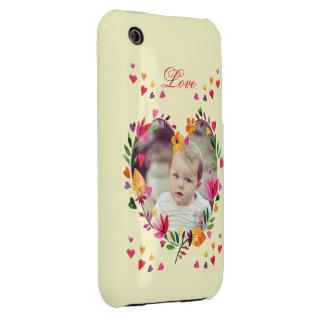 Foto floral de la guirnalda del corazón del amor Case-Mate iPhone 3 funda