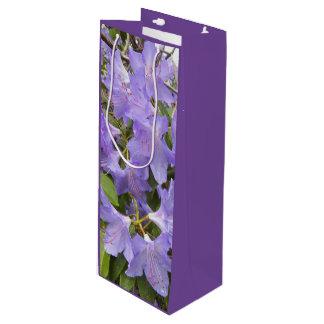 Foto floral de los rododendros púrpuras bolsa de regalo para vino