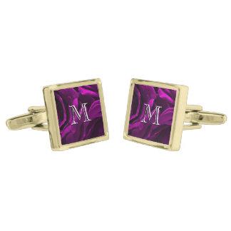 Foto floral de los rosas púrpuras románticos gemelos dorados