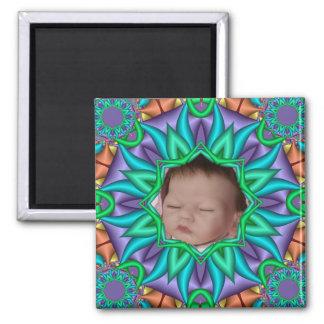 Foto floral decorativa del bebé del marco w del re imán cuadrado