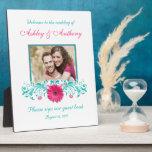 Foto floral del boda del Gerbera de la turquesa ro Placa De Madera
