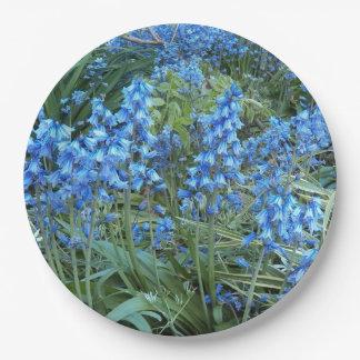 Foto floral del jardín del Bluebell Plato De Papel De 9 Pulgadas