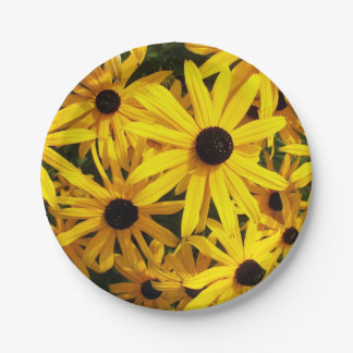 Foto floral observada negro de Susans Plato De Papel De 7 Pulgadas