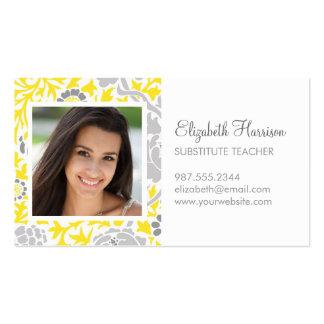Foto floral retra gris y amarilla del tarjetas de visita