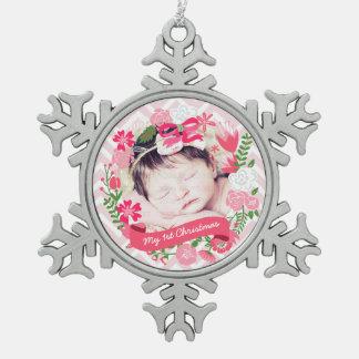 Foto floral rosada de la guirnalda del navidad adornos
