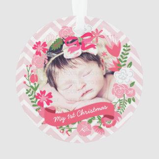 Foto floral rosada de la guirnalda del navidad