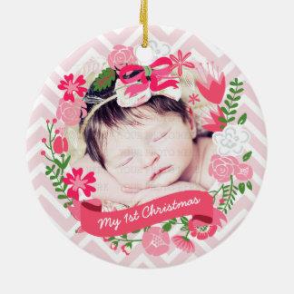 Foto floral rosada de la guirnalda del navidad ornamento para reyes magos