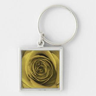Foto floral subió oro hermoso de la flor llavero cuadrado plateado