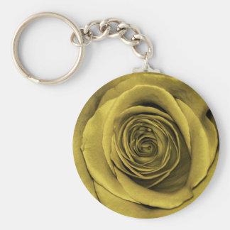 Foto floral subió oro hermoso de la flor llavero redondo tipo chapa