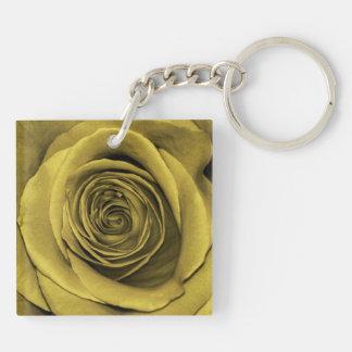 Foto floral subió oro hermoso de la flor llavero cuadrado acrílico a doble cara