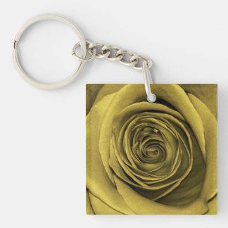 Foto floral subió oro hermoso de la flor llavero cuadrado acrílico a una cara