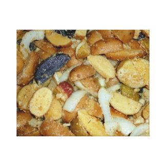 foto frita de la comida de las cebollas del queso  lienzo envuelto para galerias