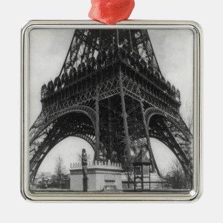 Foto from 1800 del vintage de la torre de Eifel Adorno Navideño Cuadrado De Metal