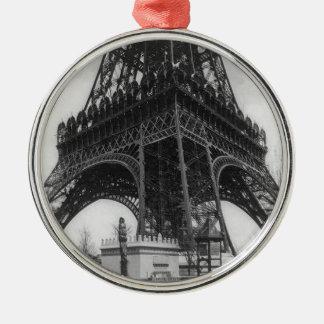 Foto from 1800 del vintage de la torre de Eifel Adorno Navideño Redondo De Metal