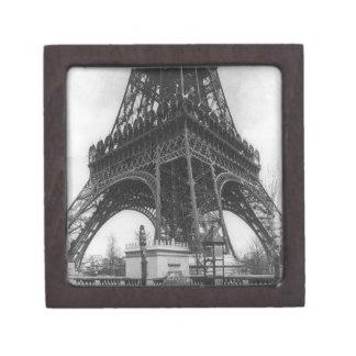 Foto from 1800 del vintage de la torre de Eifel Cajas De Joyas De Calidad