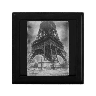 Foto from 1800 del vintage de la torre de Eifel Joyero Cuadrado Pequeño
