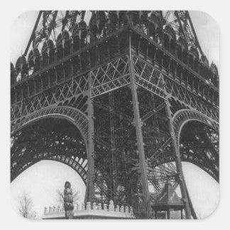 Foto from 1800 del vintage de la torre de Eifel Pegatina Cuadrada