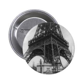 Foto from 1800 del vintage de la torre de Eifel Pin Redondo De 2 Pulgadas