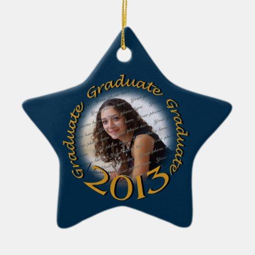 Foto graduada del azul 2013 y del oro ornamente de reyes