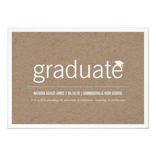 """Foto graduada moderna simplemente de papel de la invitación 5"""" x 7"""""""