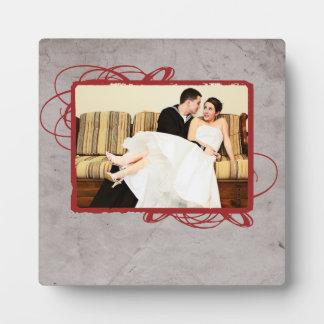 Foto gris y roja elegante del vintage placas de madera