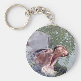 Foto hambrienta de la boca del hipopótamo llavero redondo tipo pin