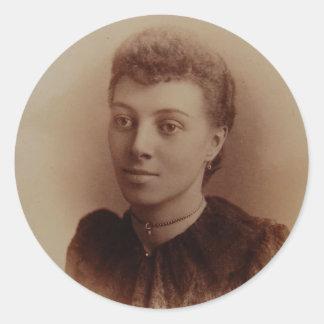 Foto hermosa de la antigüedad de la mujer negra pegatina redonda