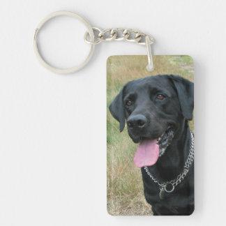 Foto hermosa del negro del perro del labrador retr llavero rectangular acrílico a doble cara