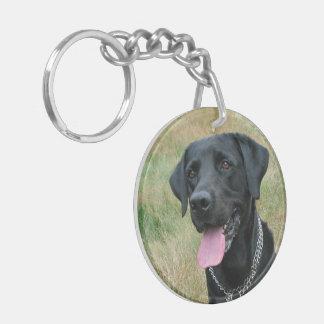 Foto hermosa del negro del perro del labrador retr llavero redondo acrílico a doble cara