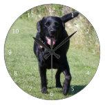 Foto hermosa del negro del perro del labrador retr reloj redondo grande