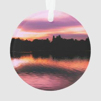 Foto hermosa del paisaje de la puesta del sol de