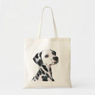 Foto hermosa del perro dálmata, regalo bolsas de mano