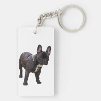 Foto hermosa del perro del dogo francés llavero rectangular acrílico a doble cara