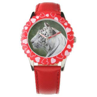 Foto hermosa del tigre blanco rayado relojes de mano
