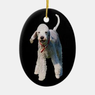 Foto hermosa linda del perro de Bedlington Terrier Adorno De Navidad