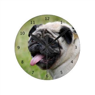 Foto hermosa linda del perro del barro amasado relojes