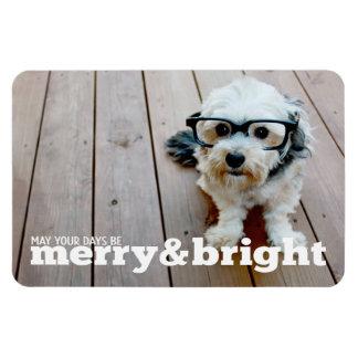 Foto horizontal feliz y brillante del navidad imán rectangular