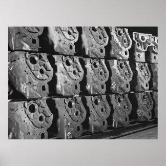 Foto industrial - bloques de motor de la media pis póster