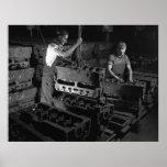 Foto industrial - bloques de motor militares WW2 Posters