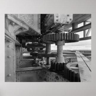 Foto industrial - engranaje de torneado del puente poster
