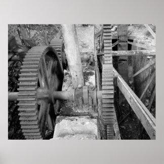 Foto industrial - engranaje de transmisión del mol póster